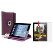 Insten Purple 360 Rotating Leather Case+Screen Anti-Glare Guard for iPad 4 4th/3 3rd/2 (Supports Auto Sleep/Wake)