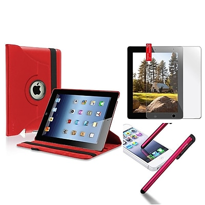 Insten Red 360 Swivel Leather Case+3 Packs Screen Shield+Stylus Pen for iPad 4 4th 3 3rd 2nd (Supports Auto Sleep/Wake) (790463)