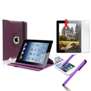Insten 360 Rotating Magnetic PU Purple Leather Case Cover ForiPad 4 4G Gen 3 3rd 2 (Supports Auto Sleep/Wake)