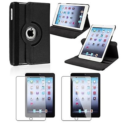 Insten Black Leather Multi View Stand Case + Anti-Glare Film For Apple iPad Mini 3rd 2nd Gen