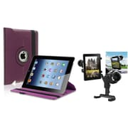 Insten Black Car Mount Holder+Purple 360 Rotating Leather Case for iPad 2 nd 3 rd 4 th (Supports Auto Sleep/Wake)