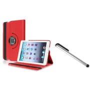 Insten Red Rotating Leather Case+Silver LCD Stylus For iPad Mini 1 2 3 (Auto Sleep/Wake)