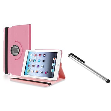 Insten Light Pink 360 Rotating PU Leather Case Stand for Apple iPad Mini 3 2 1 + Free Stylus