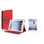 Insten Red 360 Swivel Leather Case Cover+3 Packs LCD Guard For Apple iPad Mini 3rd / 2nd / 1st Gen (w/ Auto Sleep/Wake)
