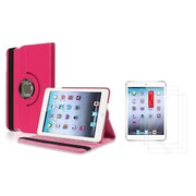 Insten Hot Pink Leather Case+3 Packs Film Guard For iPad Mini 3rd 2nd 1st (Supports Auto Sleep/Wake)