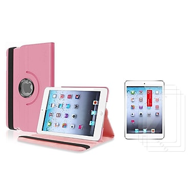 Insten Light Pink Leather Case+3 Packs Film Guard For iPad Mini 3rd 2nd 1st Gen (w/ Auto Sleep/Wake)