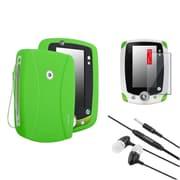 Insten Green Skin Gel Rubber Shell Case+Clear Protector+Headset For LeapFrog LeapPad 2