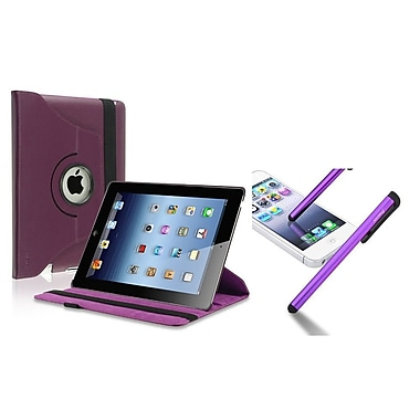 Insten Purple 360 Swivel Leather Case+Clip Screen Stylus Pen for iPad 2/3/4 4th (Supports Auto Sleep/Wake)