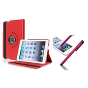 Insten Red 360 Swivel Leather Case+Stylus For Apple iPad Mini 3/2/1 (Supports Auto Sleep/Wake)