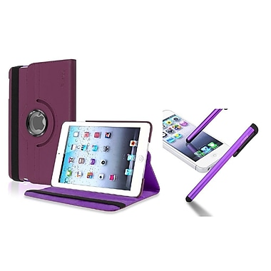 Insten Purple Rotating Leather Case+Stylus For Apple iPad Mini 1st 2nd 3rd (Auto Sleep/Wake)