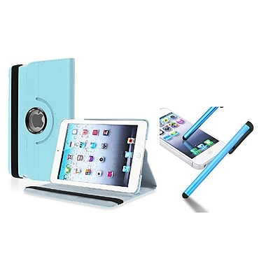Insten® Leather Case with Universal Stylus For Apple iPad Mini 3/2/1, Light Blue (948123)