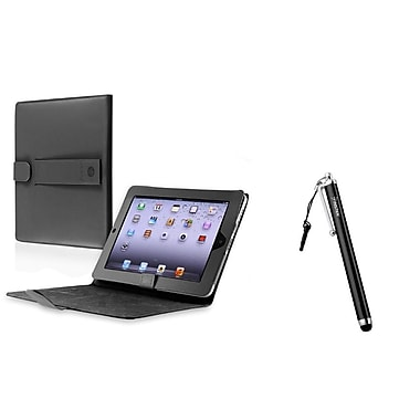 Insten® Black Leather Stand Cover Case and Clip 3.5mm Screen Stylus Pen for iPad 1(948192)