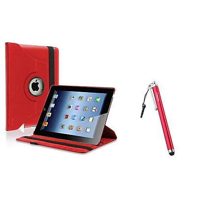 Insten Red 360 Swivel Leather Case+Clip 3.5mm Screen Stylus Pen for iPad 2/3/4 4th (Supports Auto Sleep/Wake)