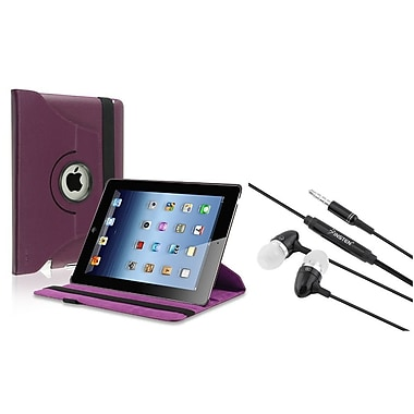 Insten Purple 360 Swivel Leather Case+Black Stereo Headset for iPad 2/3/4 4th (Supports Auto Sleep/Wake)