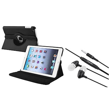 Insten® Swivel Leather Case and 3.5mm Black Headset For Apple iPad Mini 3/2/1, Black (948464)
