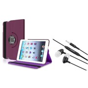 Insten Purple Leather Stand Case +3.5mm Headset For Apple iPad Mini 3 2 1 (w/ Auto Sleep/Wake)