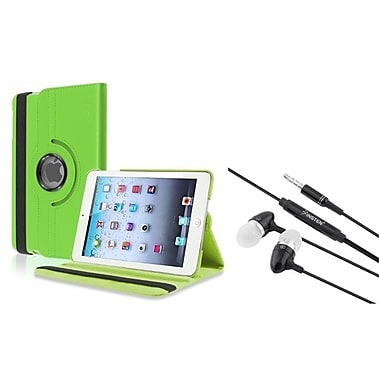 Insten® Swivel Leather Case and 3.5mm Black Headset For Apple iPad Mini 3/2/1