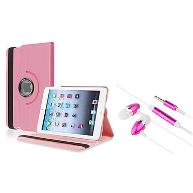 Insten Light Pink Leather Case+3.5mm Headset For Apple iPad Mini 3 2 1 (w/ Auto Sleep/Wake)