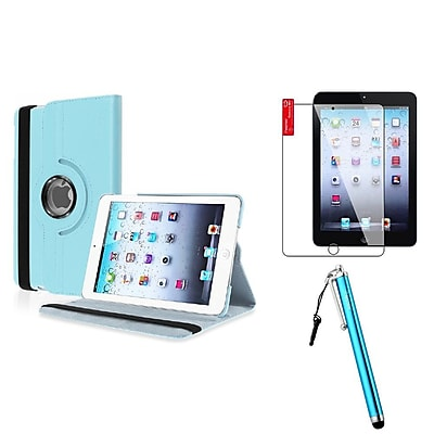 Insten Blue Leather Case Stand + Protector + Stylus For iPad Mini 1 / 2 / 3 (Auto Sleep/Wake)