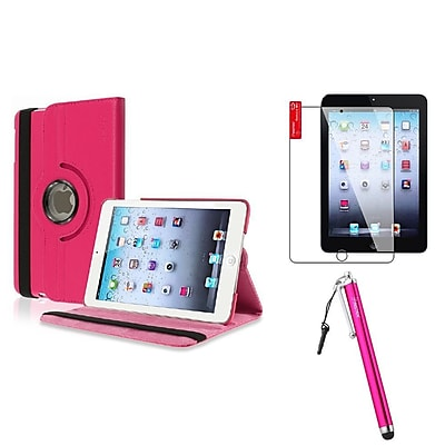 Insten Hot PInk Leather Case Stand + Protector + Stylus For iPad Mini 1 / 2 / 3 (Auto Sleep/Wake)