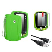 Insten Green Skin Gel Rubber Shell Case+Matte Protector+USB Cable For LeapFrog LeapPad 2