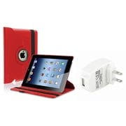 Insten Red 360 Leather Case+AC Wall Charger for iPad 4 4th 3 & 2 Retina Display Display (Supports Auto Sleep/Wake)
