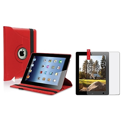 Insten Red 360 Leather Case Pouch+Anti-Glare Guard for New iPad Retina 4 4G Gen 3 3rd 2 (Supports Auto Sleep/Wake)