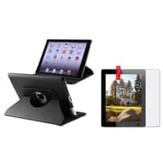Insten 360 Black Rotating Leather Case Pouch+Anti-Glare Guard for iPad 4 4G /3 3G/2 2G (Supports Auto Sleep/Wake)