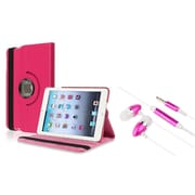 Insten Hot Pink Swivel Leather Case+3.5mm Headset For Apple iPad Mini 3/2/1 (Auto Sleep/Wake)