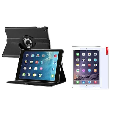 Insten® 360 Rotating Leather Case Cover and Screen Protector For Apple iPad Air 5, Black(1504467)