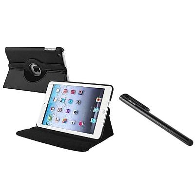 Insten 360 Swivel Black Leather Case+Stylus For Apple iPad Mini 1st 2nd 3rd (Auto Sleep/Wake)