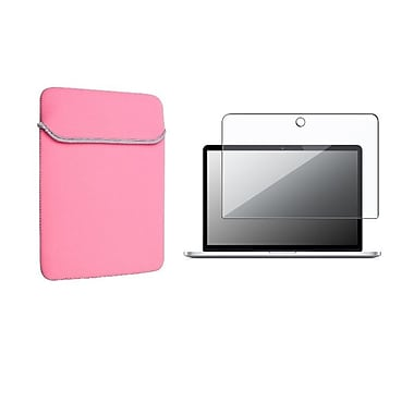 Insten® Pink Soft Sleeve Skin Case and 2in1 Screen Protector Cover For Macbook Pro 13