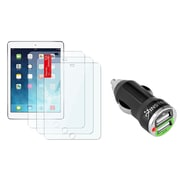 Insten 3pcs Set Clear Screen Protector Film For Apple iPad Air 1 1st 2 2nd (with 2-Port USB Car Charger Adapter)