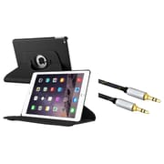 Insten 360 Degree Black Rotating Multi View Stand Leather Case Cover For Apple iPad Air 2 (iPad 6)(+ 3.5mm Audio Cable)