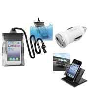 Insten Black Waterproof Bag Case+Charger+Car Holder For iPod Touch 1 2 3 5 5G 5th Gen