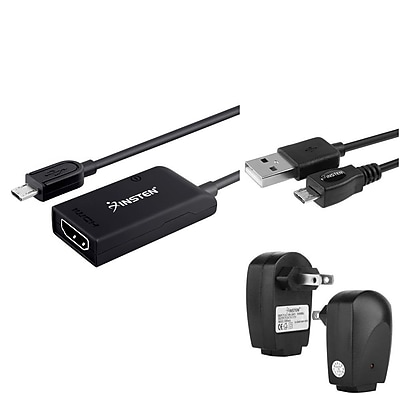 Insten Micro USB to HDMI Adapter + AC Charger + 10FT Cable For Samsung Galaxy S III / S IV i9500 / S5 / Note 3