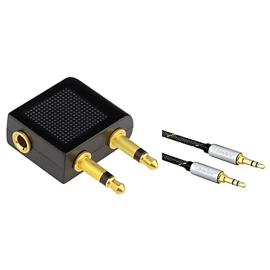 Insten Airplane Airline Travel Headphones Jack Audio 3.5mm Adapter Converter (with 3.5mm Audio Extension Cable M/M)