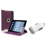 Insten Purple 360 Rotating Leather Case Pouch+Car Charger Adapter for iPad 3rd 4th 2nd (Supports Auto Sleep/Wake)