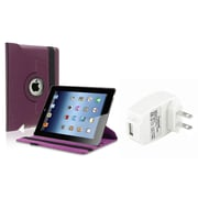 Insten Purple 360 Leather Case+AC Wall Charger for iPad-4theration / iPad-3 / iPad-2 (Supports Auto Sleep/Wake)