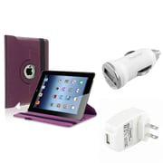 Insten Purple 360 Swivel Stand Leather Case Pouch+AC+Car Charger for iPad 2 3 4 Gen (Supports Auto Sleep/Wake)
