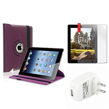 Insten Purple 360 Leather Case+Screen Film+Wall Charger for iPad Retina 2 nd 3 rd 4 th (Supports Auto Sleep/Wake)