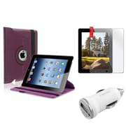 Insten Purple 360 Leather Case+Protector Guard+Car Charger for iPad 2 2nd 3 3rd 4 4th (Supports Auto Sleep/Wake)