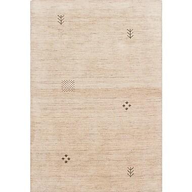 ECARPETGALLERY Luribaft Gabbeh Riz Hand-Woven Cream Area Rug; 4' x 5'11''