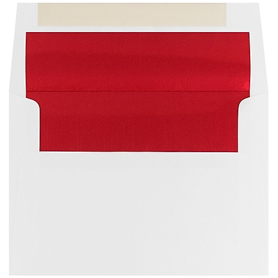 JAM Paper® A6 Foil Lined Envelopes, 4.75 x 6.5, White with Red Lining, 25/pack (3243655)