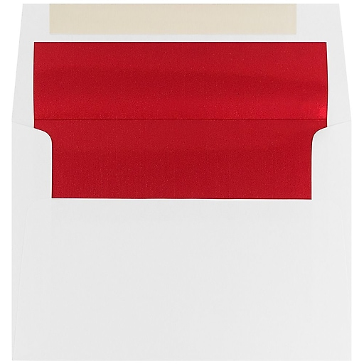 JAM Paper® A6 Foil Lined Invitation Envelopes, 4.75 x 6.5, White with Red Foil, 50/Pack (3243655I)