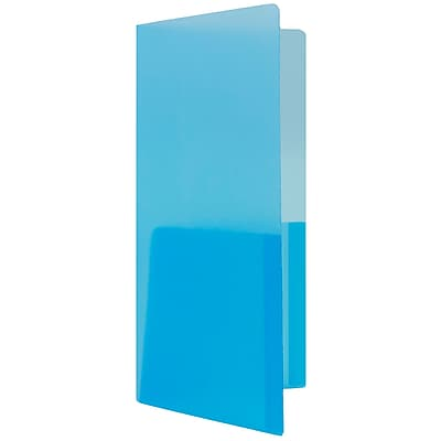 JAM Paper® Plastic Heavy Duty Mini Two Pocket Folders, Small, 4 1/4 x 9 1/8, Blue, 6/pack (96449D)