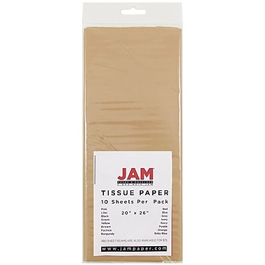 JAM Paper® Tissue Paper, Tan Brown, 10/Pack (1152350)