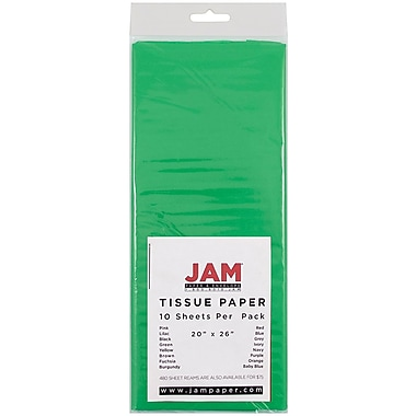 JAM Paper® Tissue Paper, Green, 10/Pack (1152352)