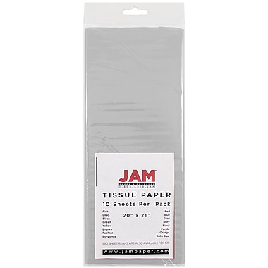 JAM Paper® Tissue Paper, Grey, 10/Pack (1152357)