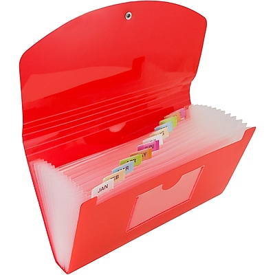 JAM Paper® 13 Pocket Expanding File, Check Size, 5 x 10.5, Red, Sold Individually (2167012)